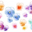 Colorful pansies, vector set — Vettoriali Stock