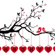 Birds on tree with red hearts, vector — Stok Vektör