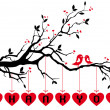 Birds on tree with red hearts, vector — Stockvectorbeeld