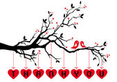 Birds on tree with red hearts, vector — Cтоковый вектор