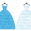 Blue wedding dress, vector — Stock vektor