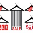 Sale tags on clothes hanger, vector set — Stockvektor
