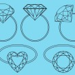 Diamond rings, vector set - Stock Vector
