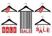 Sale tags on clothes hanger, vector set — Stock Vector