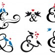 Ampersand sign with birds, vector set — Imagens vectoriais em stock