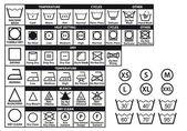 Símbolos de cuidado textil, conjunto de vectores — Vector de stock