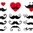 Mustache design set, vector — Stock Vector
