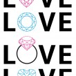 Diamond love, vector — Stock Vector