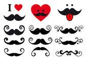 Mustache design set, vector — Stock Vector