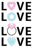 Diamant-Liebe, Vektor — Stockvektor