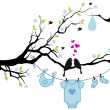 Baby boy with birds on tree, vector — Imagens vectoriais em stock
