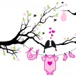 Baby girl with birds on tree, vector — Imagens vectoriais em stock
