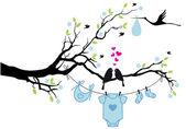 Baby boy with birds on tree, vector — Stock Vector