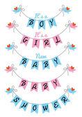 Cute baby shower, vector design — Stock Vector