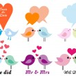 Love birds with hearts, vector set — Vettoriali Stock