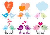 Láska ptáků se srdíčky, vektorové sada — Stock vektor