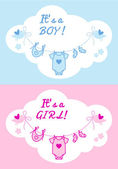 Baby boy and girl, vector background — Stock Vector