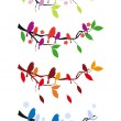 Birds on tree in four seasons, vector set — Image vectorielle