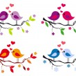 Cute birds with red hearts on tree, vector set — Stock Vector