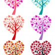 Heart tree with birds, vector — Stok Vektör
