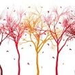 Autumn trees with falling leaves, vector  — Stock Vector