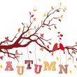 Autumn tree branch, vector — Vector de stock