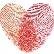 Red fingerprint heart, vector — Stock Vector #30958797