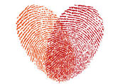 Red fingerprint heart, vector — Vettoriale Stock