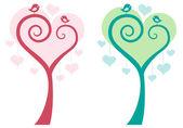 Ağaç kuşları ile kalp, vektör — Stok Vektör