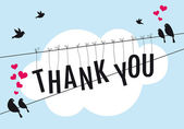 Thank you with birds in the sky, vector — Vector de stock