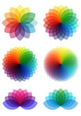 Abstract color flowers, vector set — Stock Vector