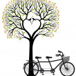 Heart tree with birds and bicycle, vector — Vector de stock