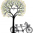 Heart tree with birds and bicycle, vector — ストックベクタ