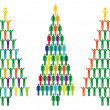 Christmas tree with people icons, vector — Imagen vectorial