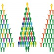 图库矢量图片: Christmas tree with people icons, vector