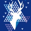 Christmas deer with triangle pattern, vector — Vettoriali Stock