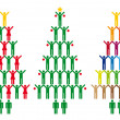 Christmas tree with people icons, vector — 图库矢量图片