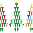 Christmas tree with people icons, vector — Stockvektor
