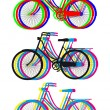 Colorful bicycle silhouettes, vector set — Vettoriali Stock