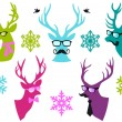 Christmas deer heads, vector set — Stok Vektör