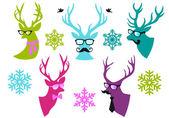 Christmas deer heads, vector set — Stock Vector