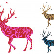 Christmas deer with birds, vector — 图库矢量图片