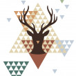 Boże Narodzenie jelenia z wzór geometryczny, wektor — Wektor stockowy