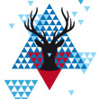 Christmas deer with geometric pattern, vector  — Stock Vector