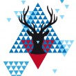 Christmas deer with geometric pattern, vector — Vettoriali Stock