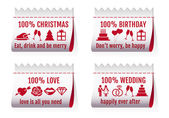 Fabric tags for cards, vector set — Stockvector