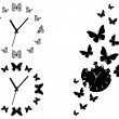 Butterfly clocks, vector set — Stock Vector