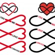 Never ending love, red infinity hearts, vector set — Stock Vector