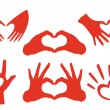 Hand heart set, vector — Stock Vector #37135623