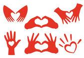 Hand heart set, vector — Stock Vector